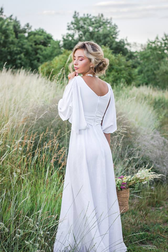 льняное платье в стиле прованс