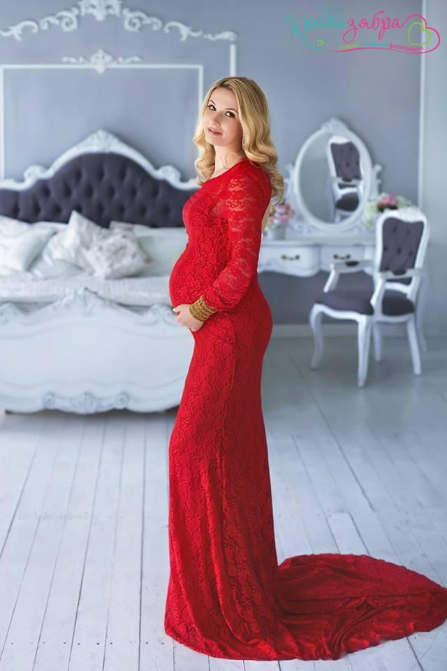 Платье для беременных с рукавами красное