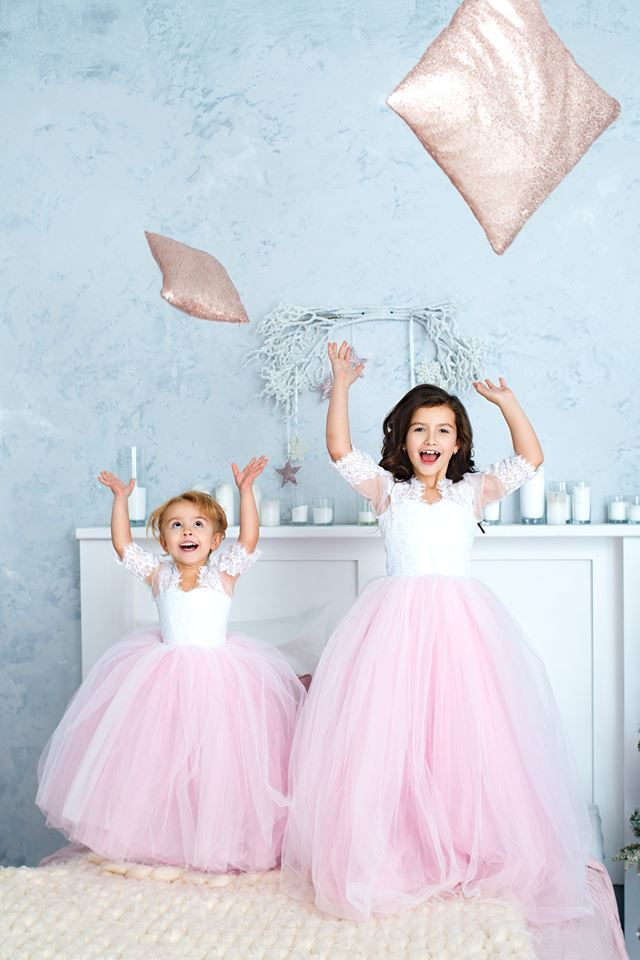 розовое детское платье