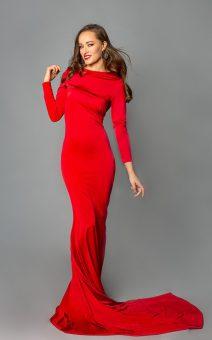 Красное платье с рукавом в пол прокат киев