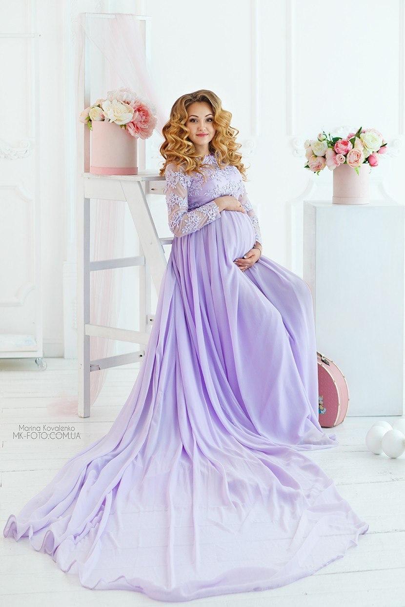 Летящее платье со шлейфом для беременных
