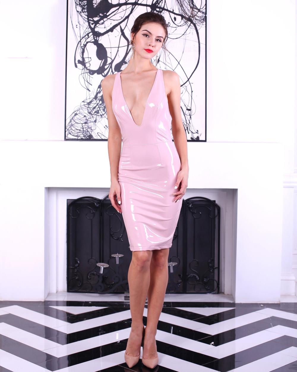 Платье с латекса розовое
