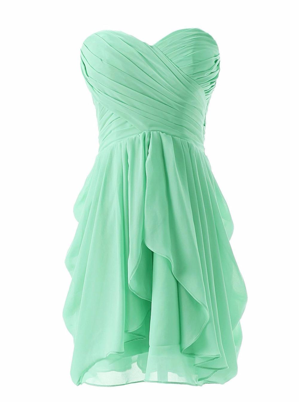 короткое шифоновое платье мятного цвета