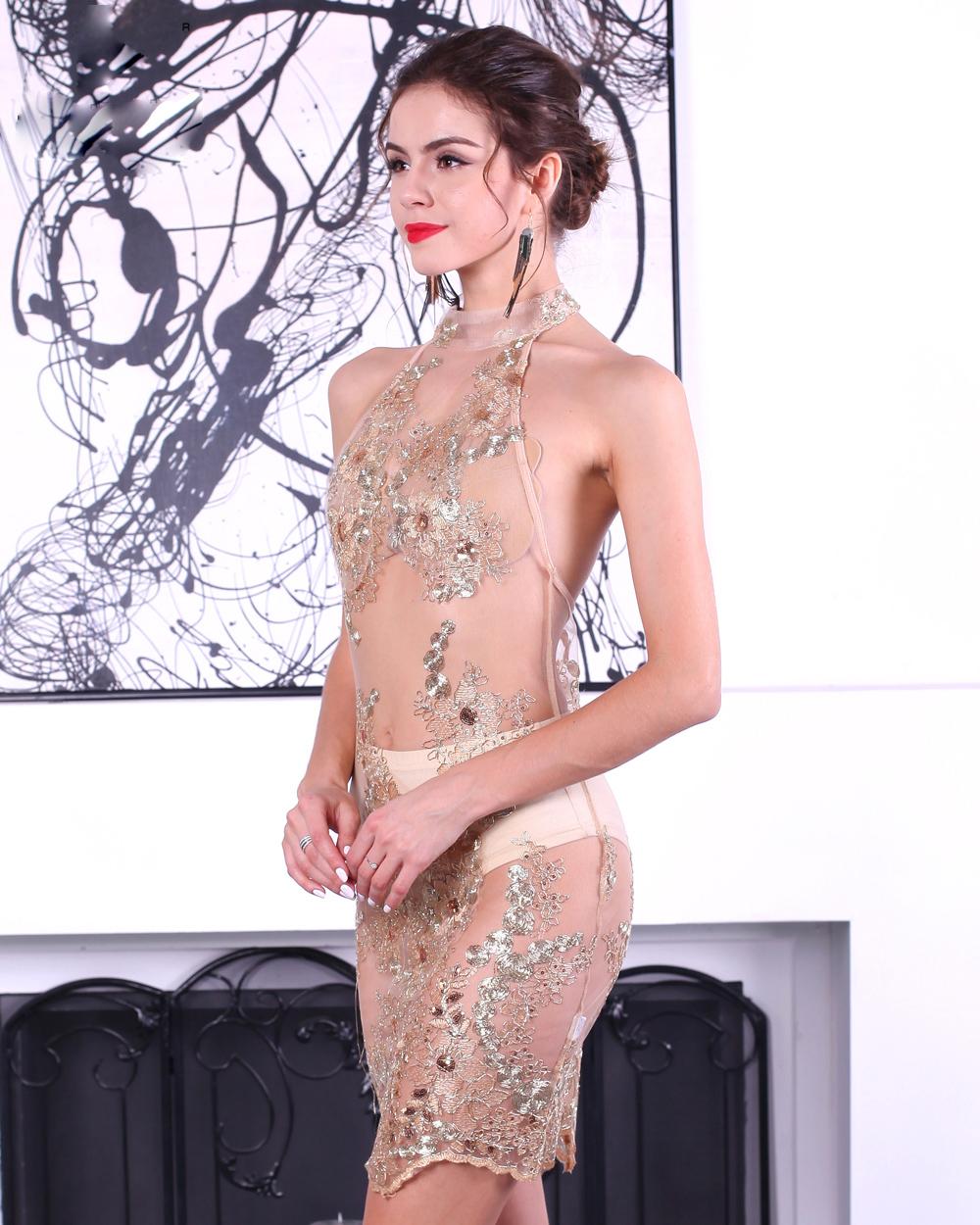 Прозрачное короткое платье
