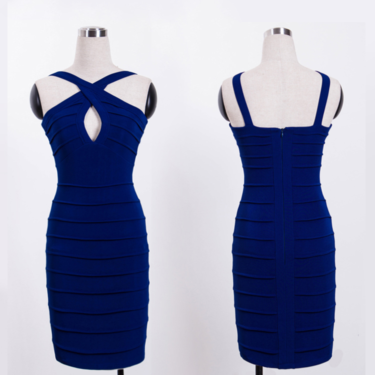 Бандажное короткое синее платье