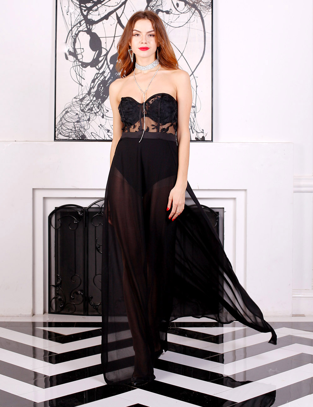 черное платье в пол прозрачное