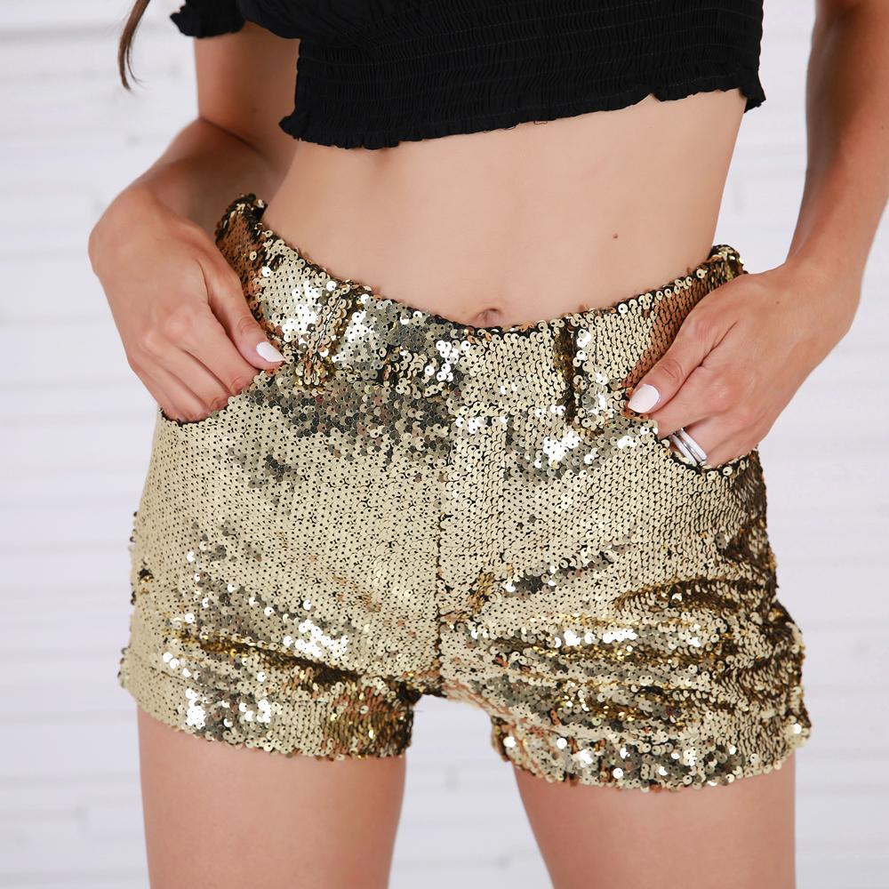 Золотые короткие шорты