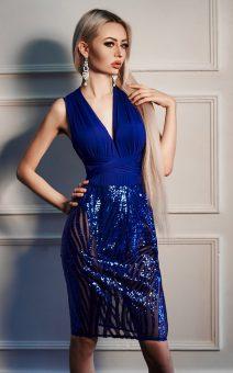 синее платье-боди