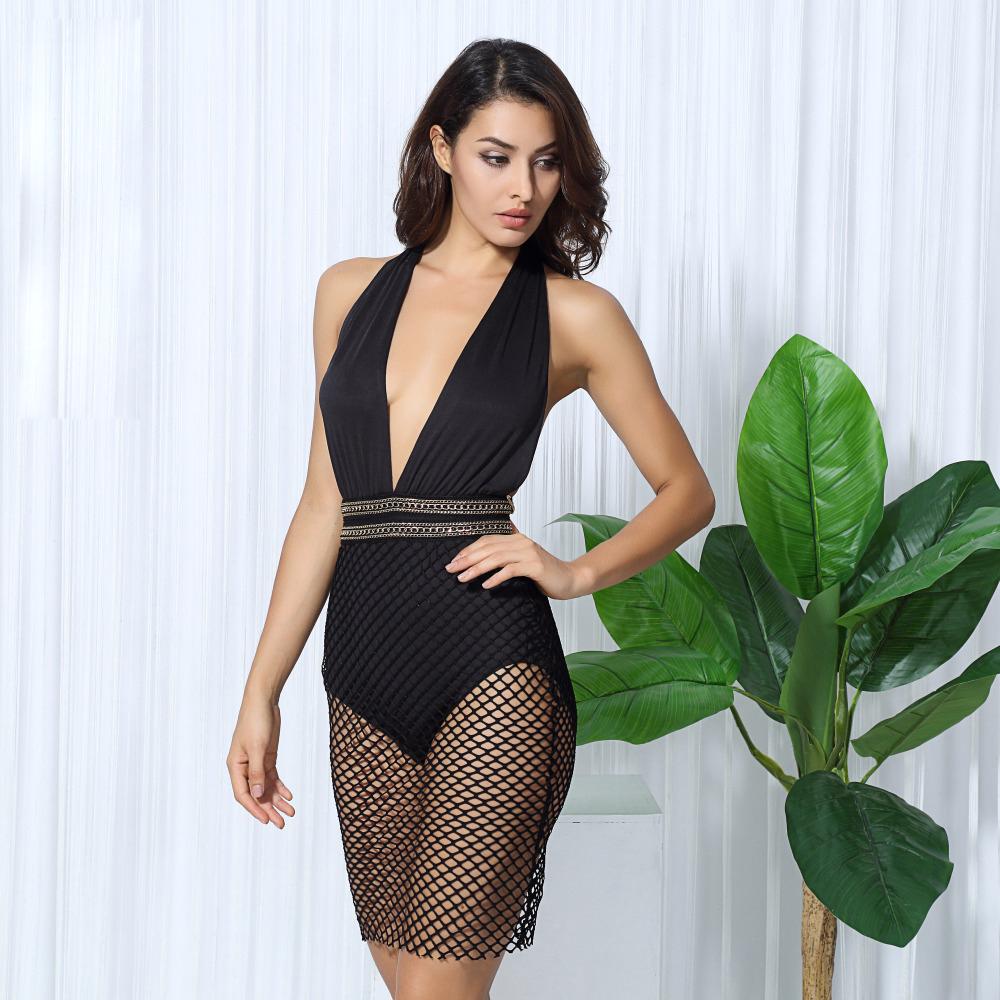 Черное платье боди сетка с декольте
