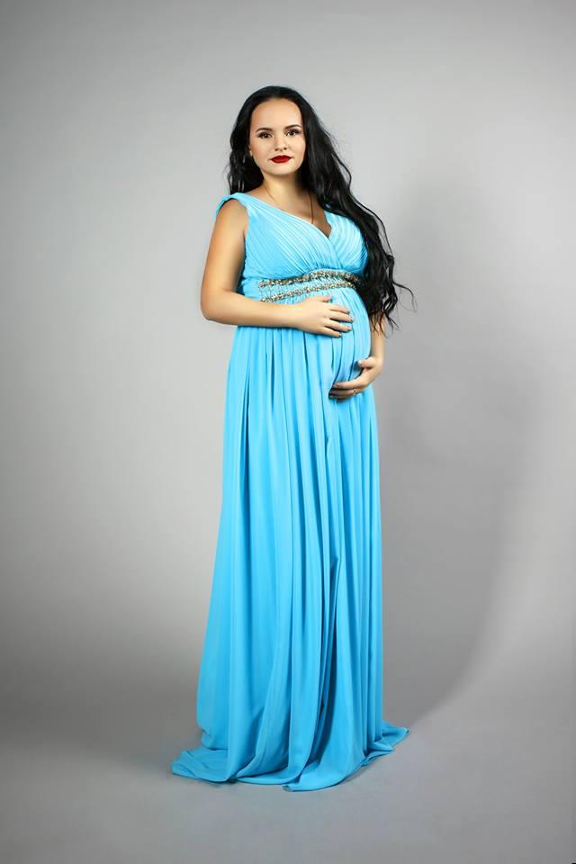 голубое платье для беременное