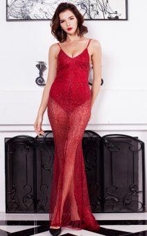 Платье боди прозрачное красное киев