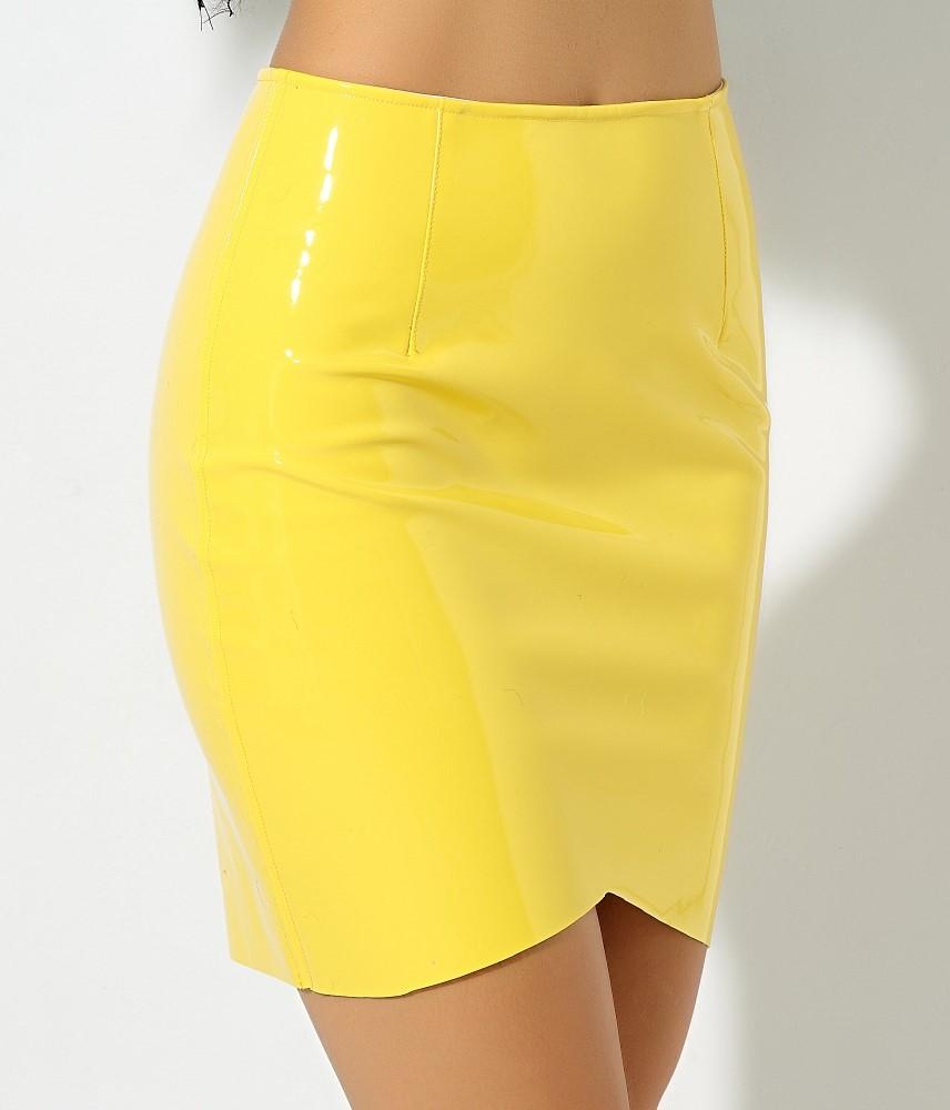 Латексная юбка желтая