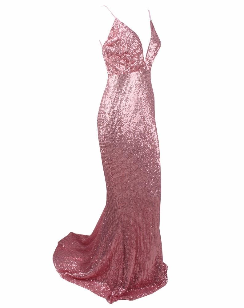 платье-рыбка розовое