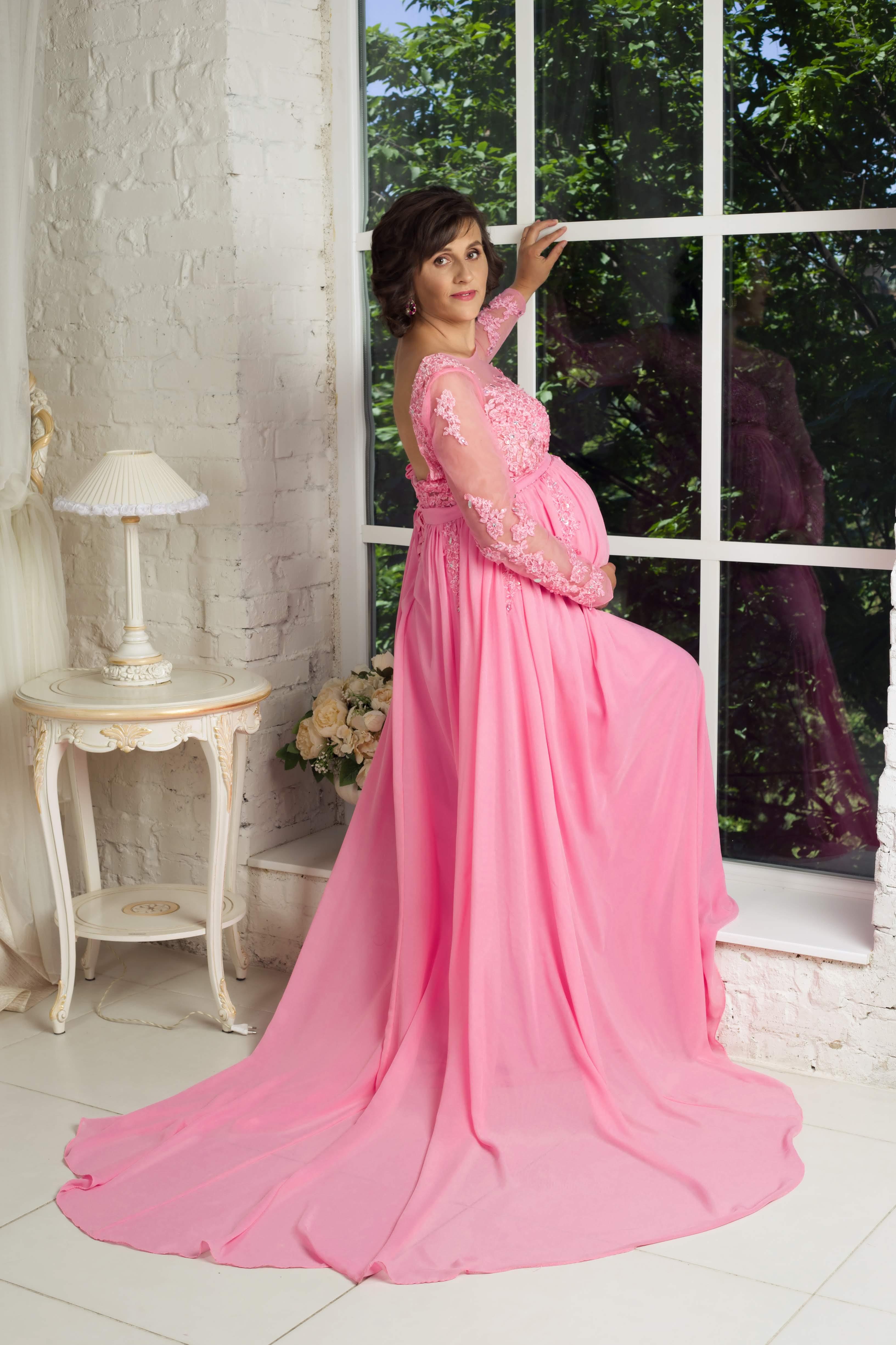 розовое платье со шлейфом для беременных киев прокат