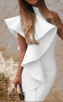 белое платье с воланом на плече киев