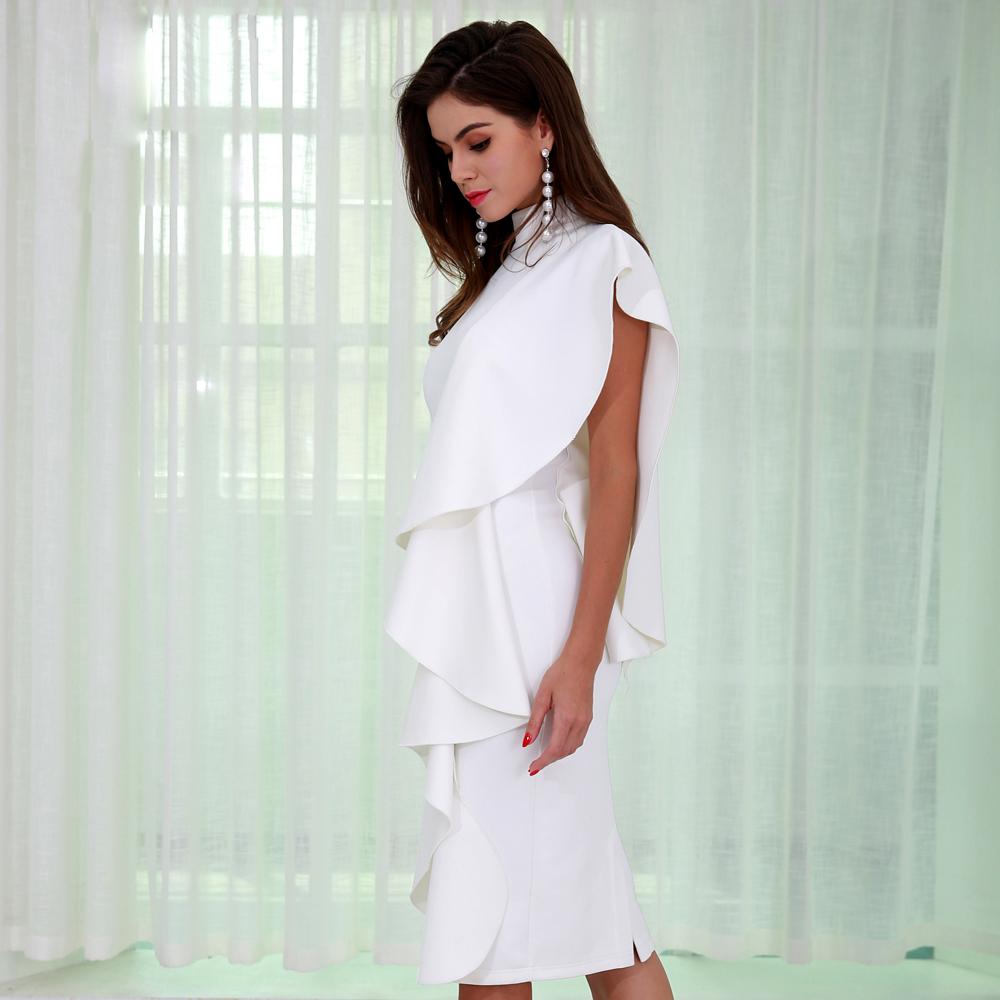 Белое деловое платье