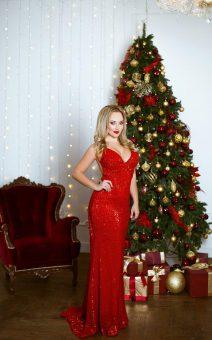 красное сверкающее платье в пол прокат киев