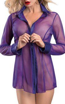 прозрачная женская рубашка фиолет