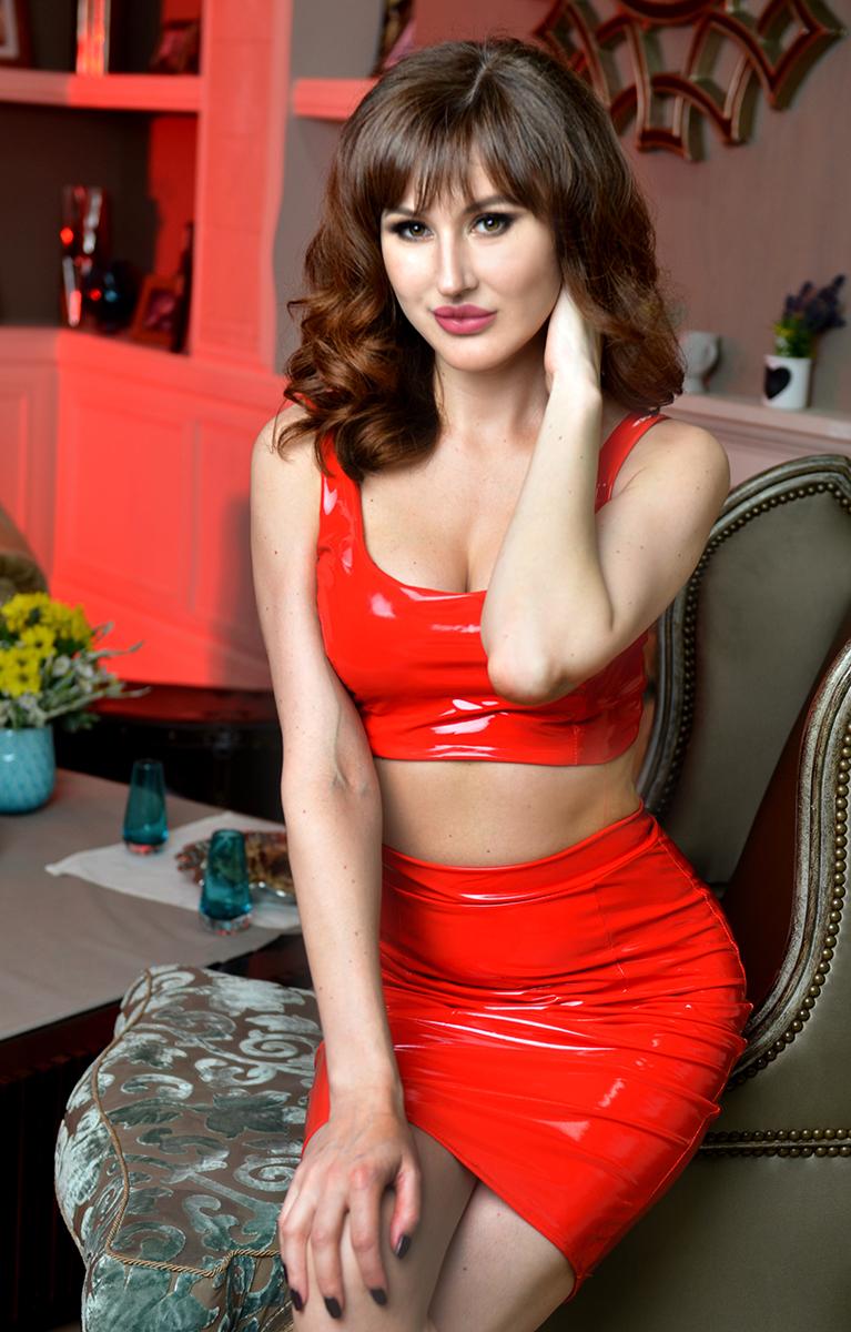 красный латексный топ и юбка купить прокат киев
