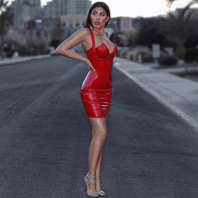 лаковая кожа платье красное киев