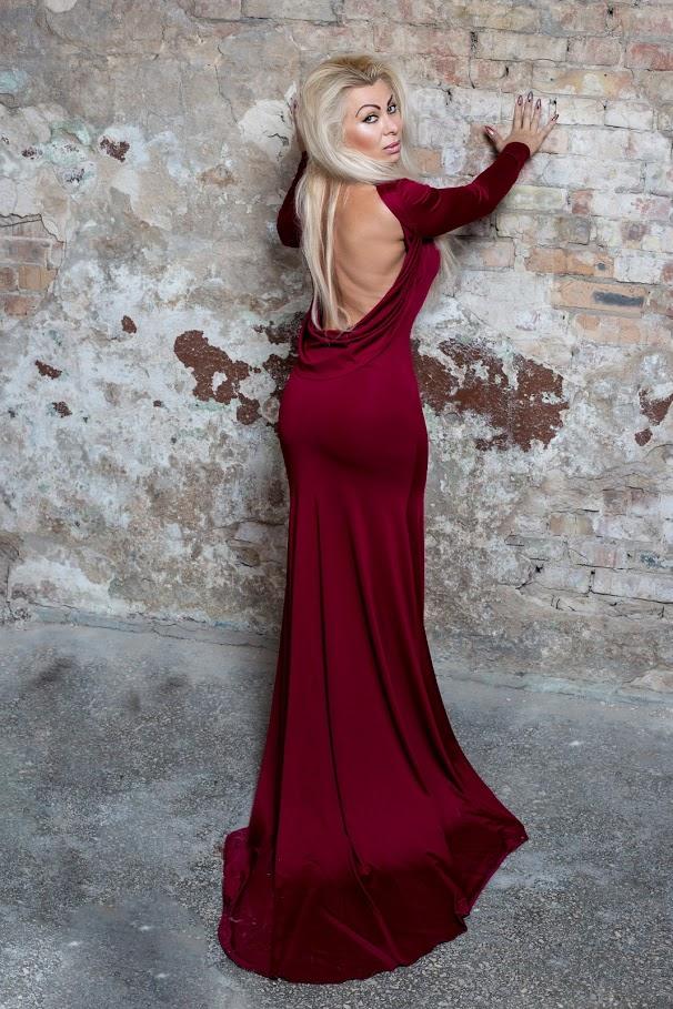 бордовое платье с открытой спиной для беременных киев