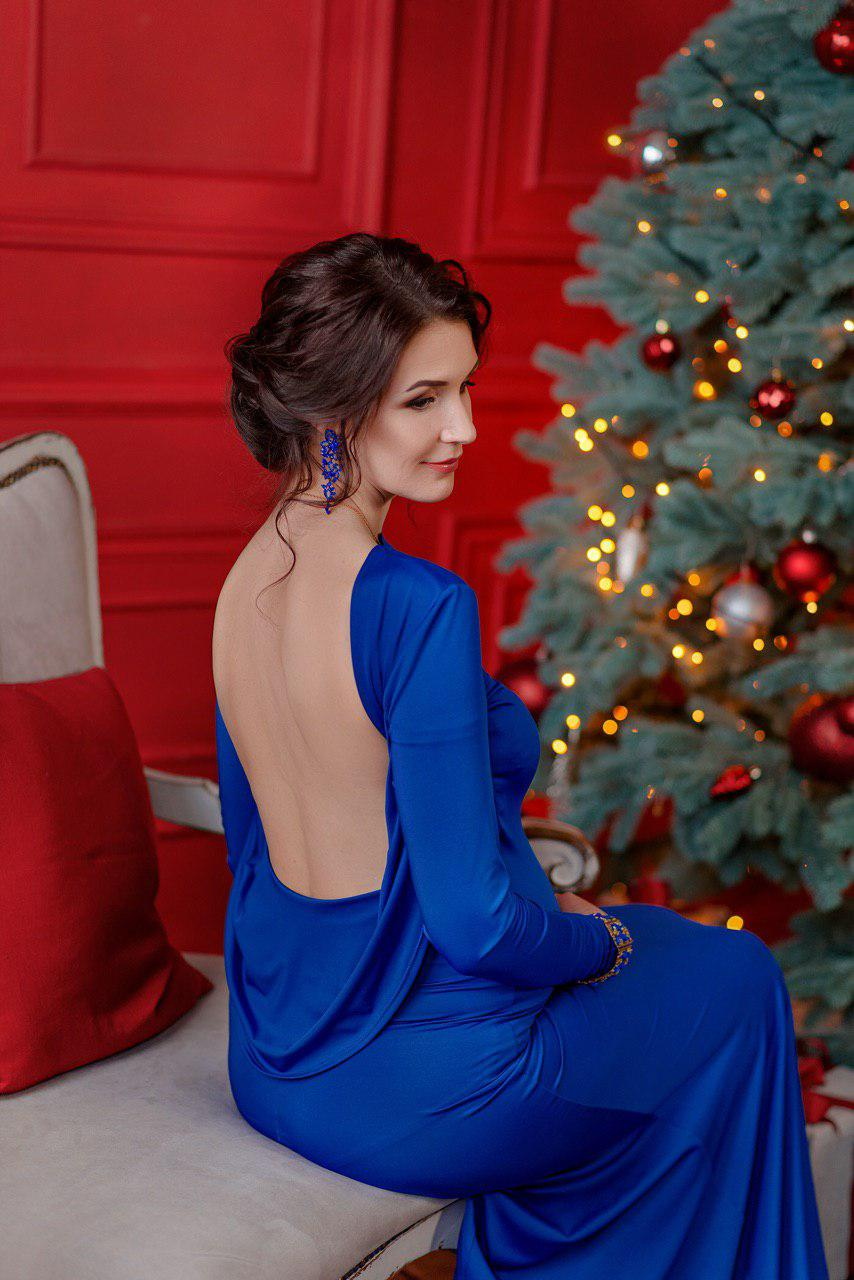 синее платье с открытой спиной прокат киев