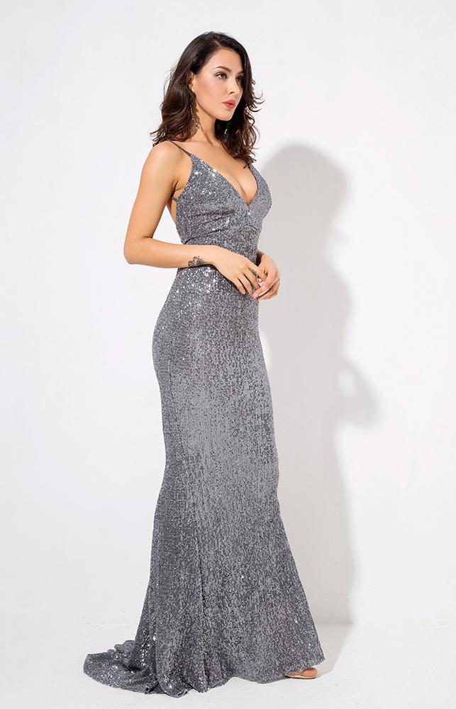 серое вечернее платье в пол прокат киев
