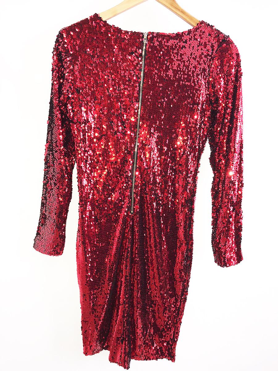 короткое красное платье с рукавом в пайетках прокат киев