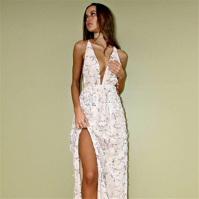 светлое платье в пол с боковым разрезом