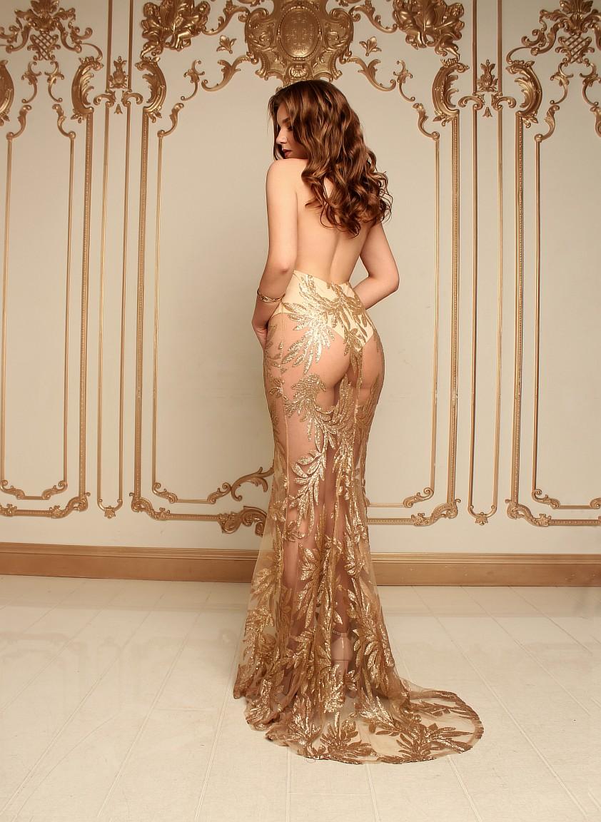 золотое прозрачное платье аренда киев