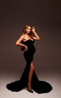 чёрное платье в обтяжку для беременных