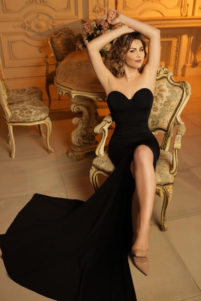 черное вечернее платье со шлейфом аренда киев