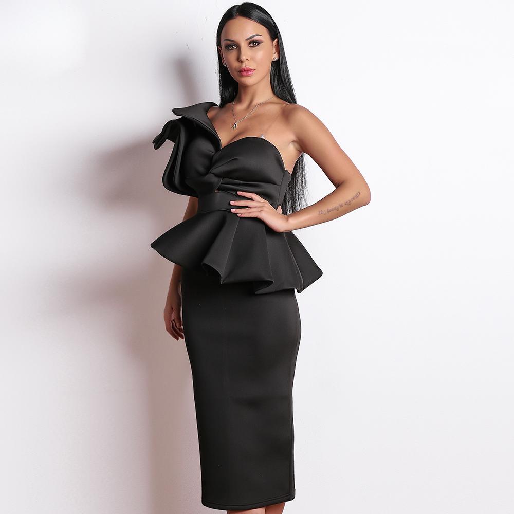 черное платье с баской на одно плечо прокат киев