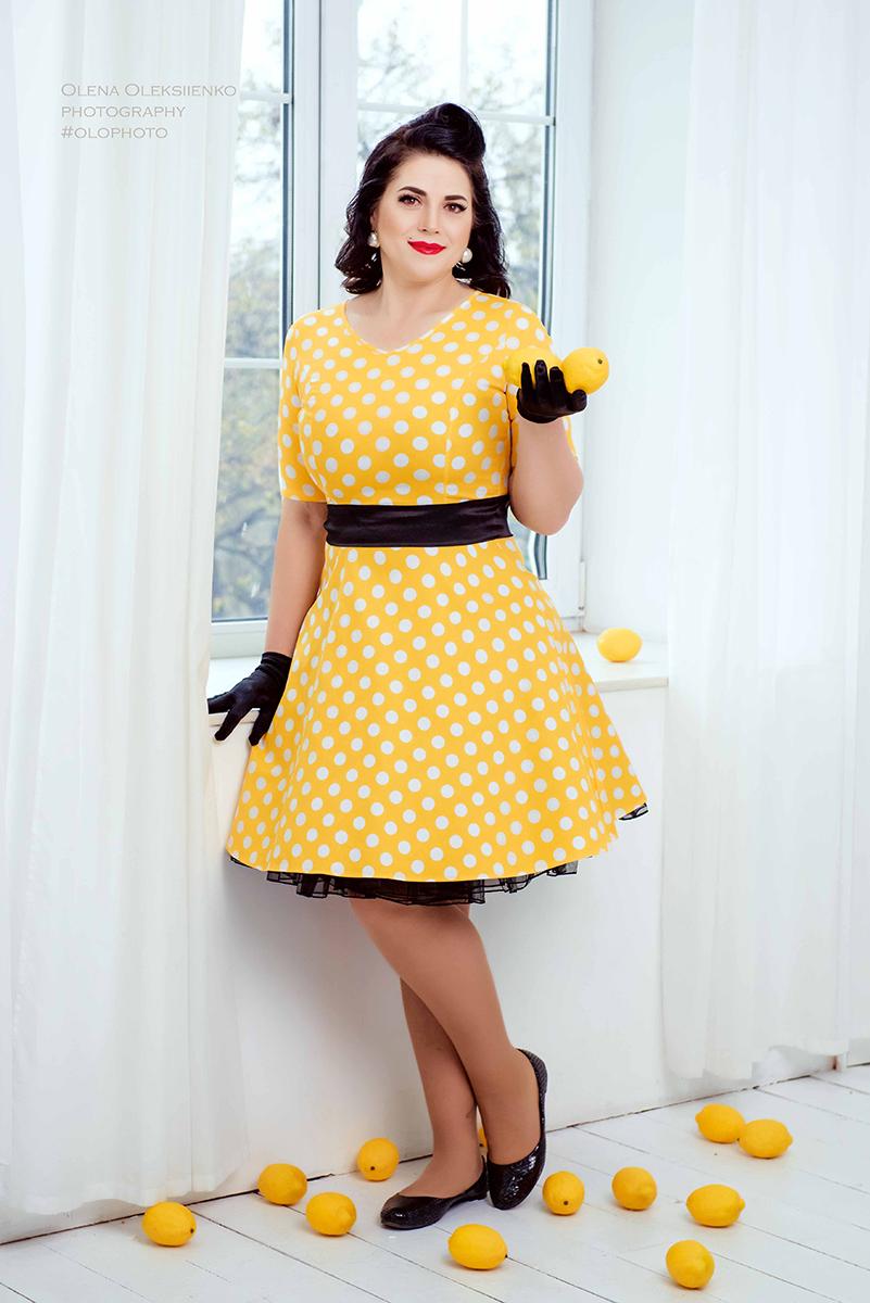 Ретро платье стиляги желтое в горох прокат киев