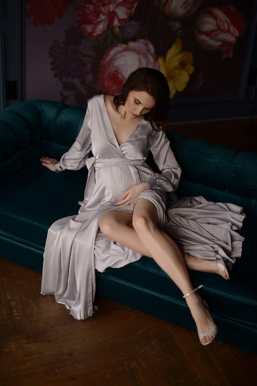 серое платье с рукавом прокат киев