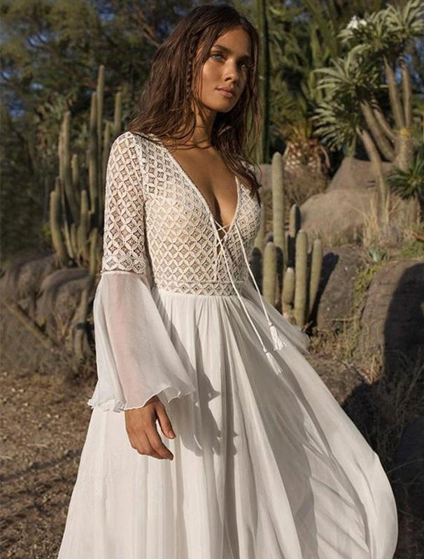 белое летящее платье с рукавами прокат киев