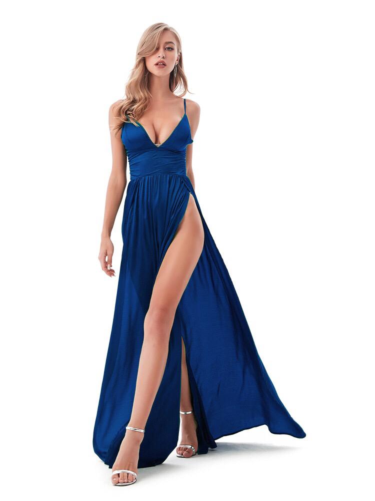 синее платье с боковым разрезом прокат киев