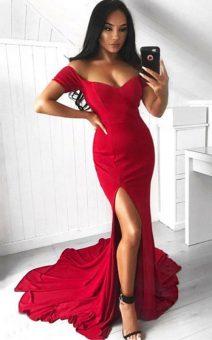 красное платье с разрезом напрокат киев