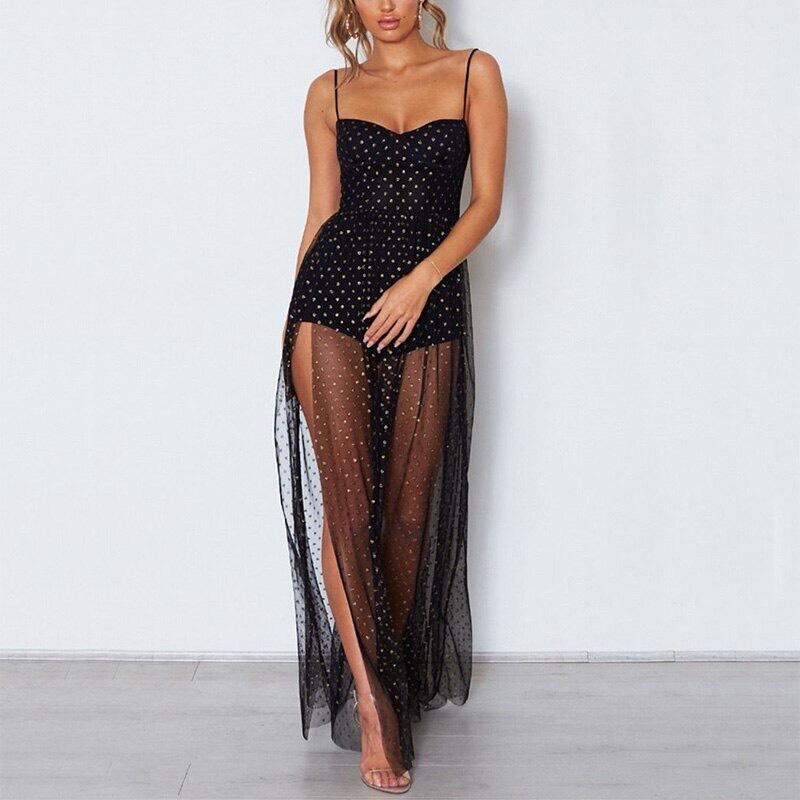черное прозрачное платье в горох прокат киев