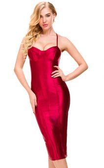красное платье длинна миди прокат киев