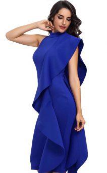 Синее платье с воланом на одно плечо