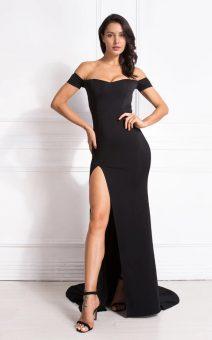 черное платье с боковым разрезом для беременных