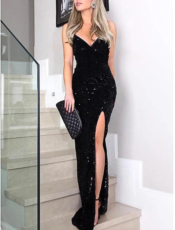 черное платье с боковым разрезом