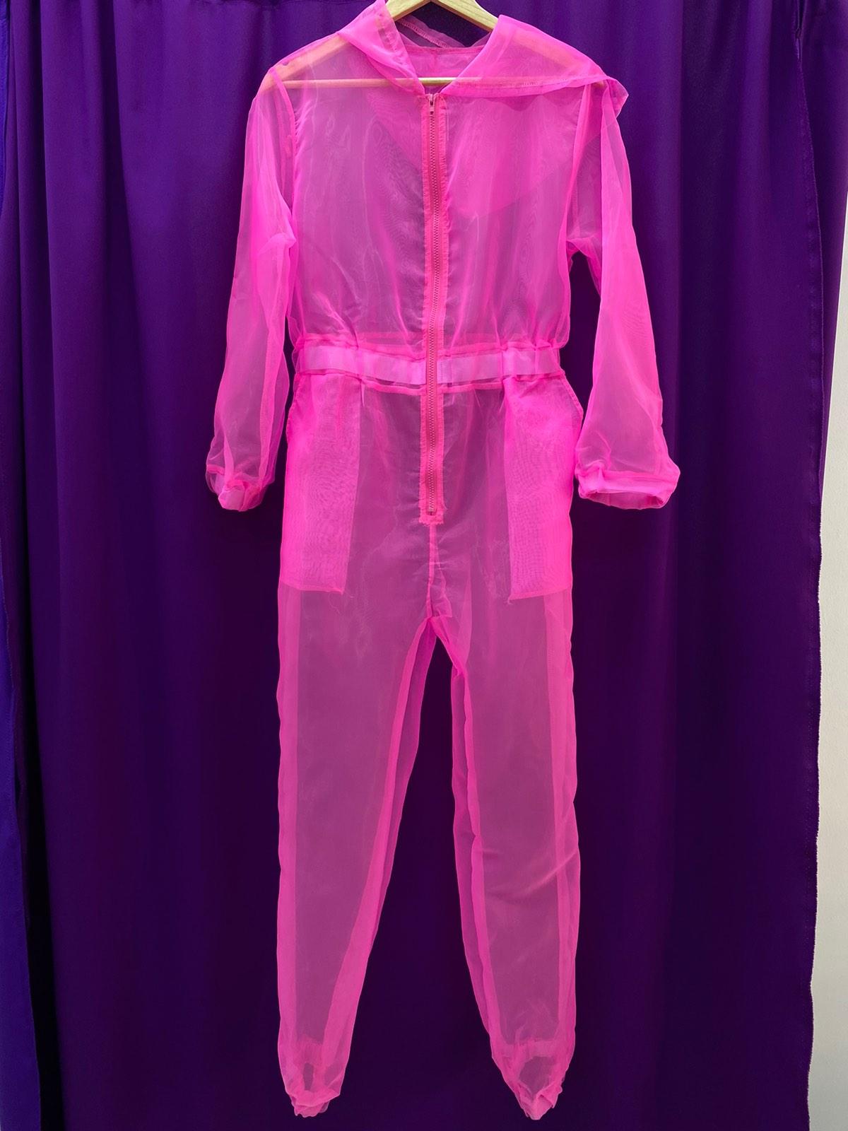 Розовый прозрачный комбинезон