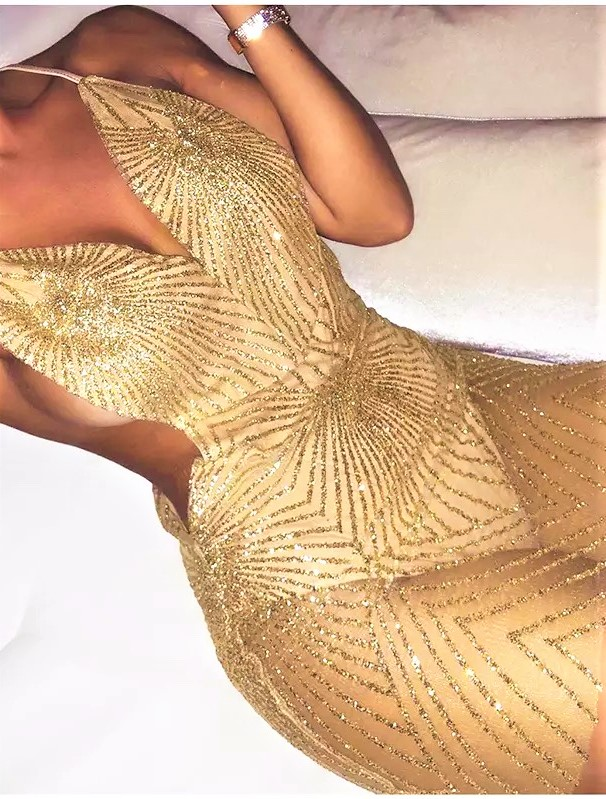 золотое прозрачное платье прокат киев