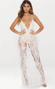 белое прозрачное платье в пол купить киев