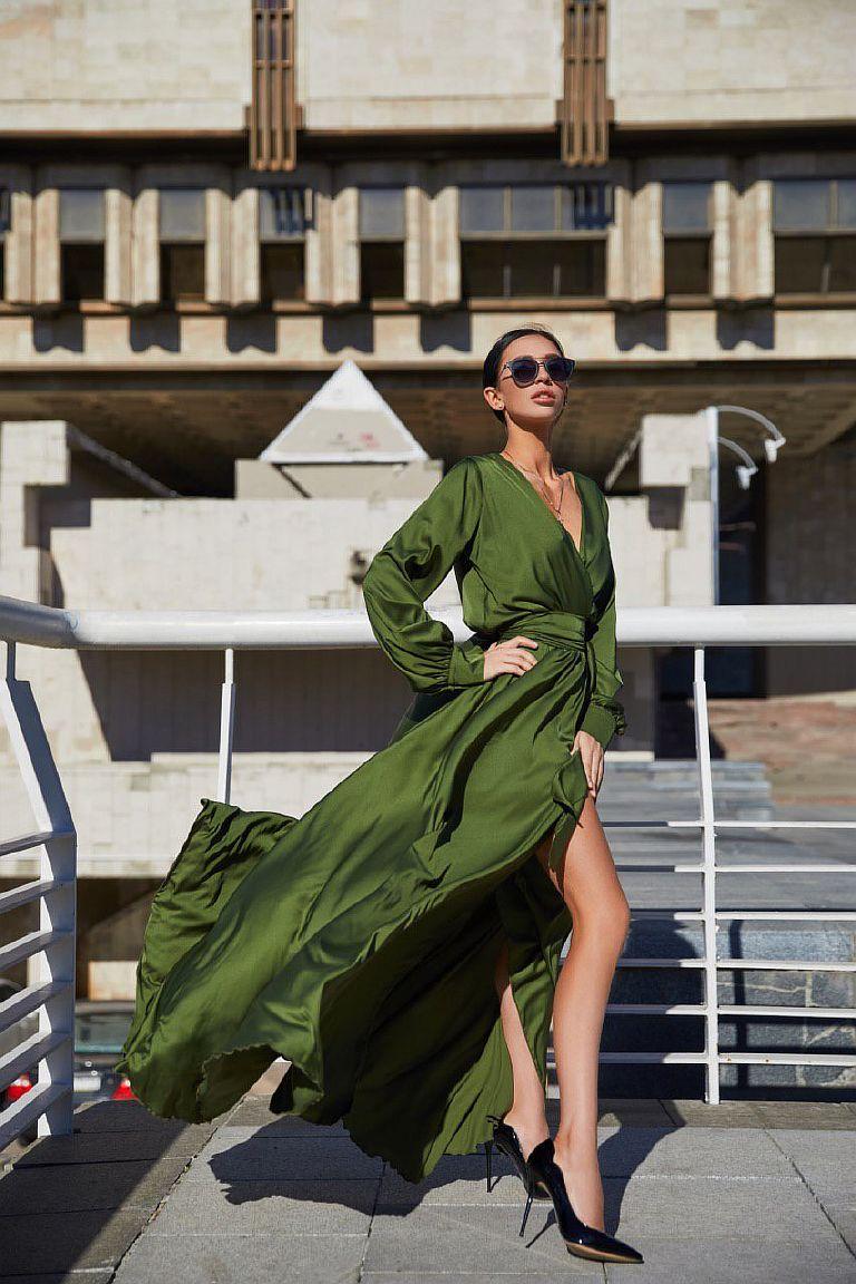 платье в пол цвета хакки прокат киев