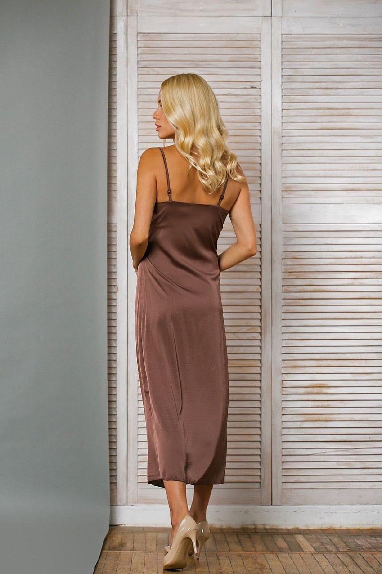 шоколадное платье миди по фигуре