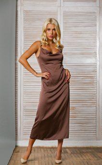 шоколадное платье миди по фигуре киев прокат