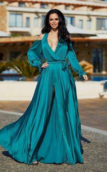зеленое шелковое платье в пол с рукавами киев прокат